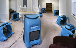 Maine water damage response - a large dehumidifier surrounded by industrial size fans in a wet basement.