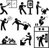 Vandalism clean up. A series of cartoons of people breaking windows, phone booths, elevators, kicking trash cans, setting fires, spray painting, and general vandalism
